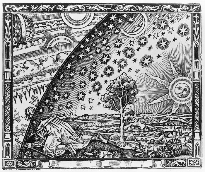 "Rycina z ,,L'atmosphère: météorologie populaire"" Camille Flammariona, autor nieznany."